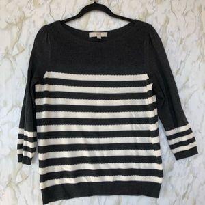 Loft X-Large Charcoal White Striped Sweater wool